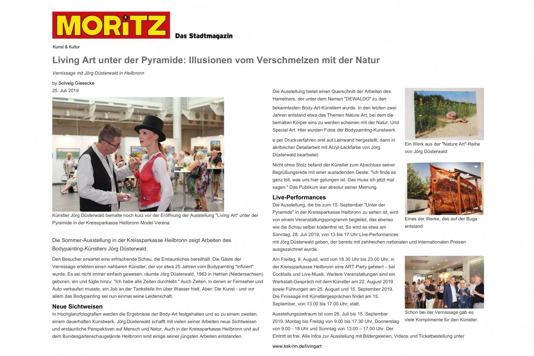 """Medienbericht MORITZ Ausstellung LIVING ART """"Unter der KSK-Pyramide"""" Heilbronn"""