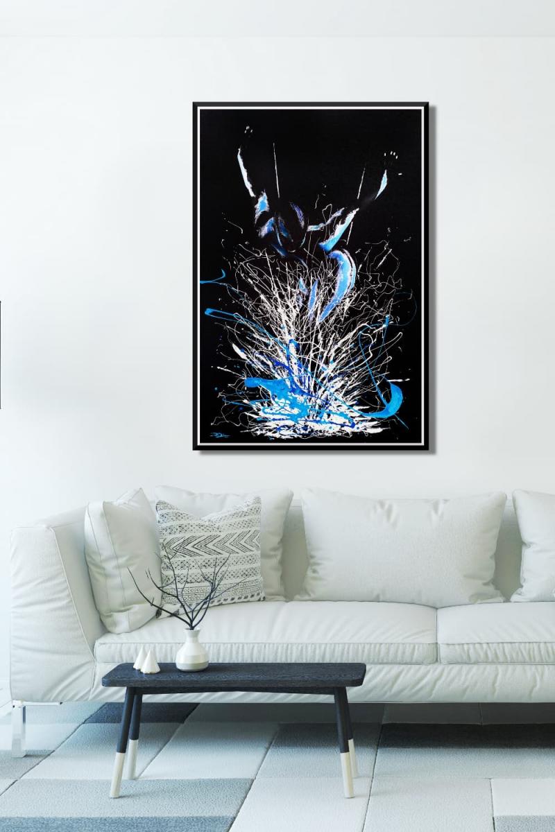 BODYART Gemälde specialArt BLACK.SPLASH-1 (80x120 cm, Bild auf Keilrahmen-Leinwand, artist handmade finished)