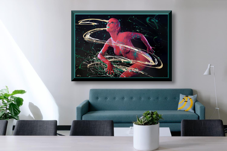 BODYART Gemälde specialArt TURQUOISEPINK-1 (100x150 cm, Bild auf Keilrahmen-Leinwand, artist handmade finished)