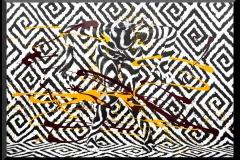 GRAPHIC-I.No3  ( 100 x 150 cm Leinwand - Acryllack maisgelb/dkl.rot)