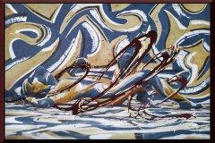 BODYART Gemälde specialArt YELLOWBLUE-I (100x120 cm, Bild auf Keilrahmen-Leinwand, artist handmade finished)
