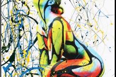 BODYART Gemälde specialArt COLOURLINES-1 (75x100 cm, Bild auf Keilrahmen-Leinwand, artist handmade finished)