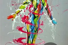 BODYART Gemälde specialArt COLOURLINES-3 (75x100 cm, Bild auf Keilrahmen-Leinwand, artist handmade finished)