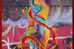 BODYART Gemälde specialArt GRAFFITIKATEY (50x100 cm, Bild auf Keilrahmen-Leinwand, artist handmade finished)