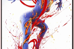 BODYART Gemälde specialArt ORANGEYELLOWBLUE-2 (80x120 cm, Bild auf Keilrahmen-Leinwand, artist handmade finished)