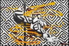 BODYART Gemälde specialArt POLEGRAPHIC-3 (80x120 cm, Bild auf Keilrahmen-Leinwand, artist handmade finished)
