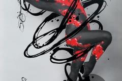 BODYART Gemälde specialArt RED.SPLASH-3 (75x100 cm, Bild auf Keilrahmen-Leinwand, artist handmade finished)