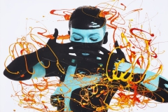 BODYART Gemälde specialArt TURQUOISE (75x100 cm, Bild auf Keilrahmen-Leinwand, artist handmade finished)
