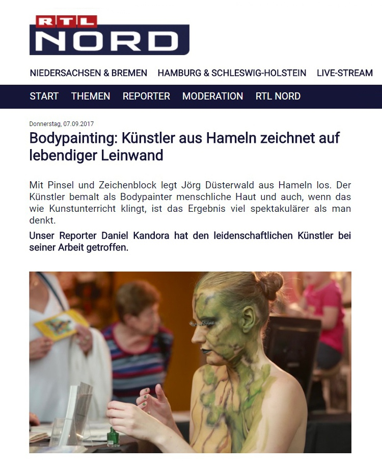 RTL-nord TV-Bericht Bodypainting-live-Performance