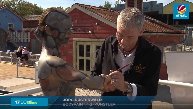Fernsehbericht Bodypainting-Künstler Jörg Düsterwald (Sender: SAT1.regional / Sept.2018)