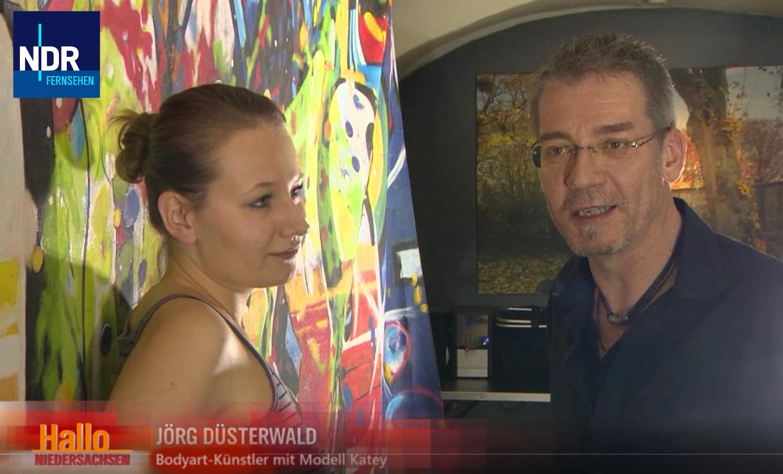 Fernsehbericht Bodypainting-Künstler Jörg Düsterwald (Sender: NDR.regional / Sendung: Hallo Niedersachsen / Sept.2017)