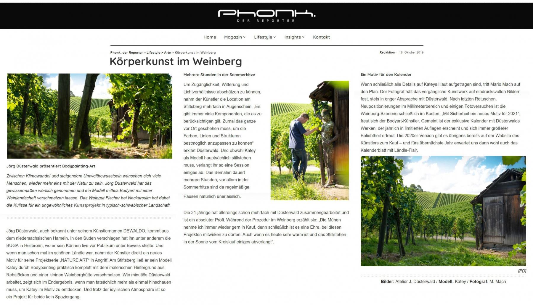 Medienbericht Bodypainting-Künstler Jörg Düsterwald (Magazin: PHONK / Okt.2019)
