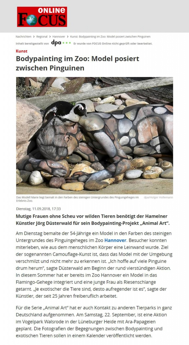 Medienbericht Bodypaintingprojekt ANIMAL ART des Künstlers Jörg Düsterwald (Medium: FOKUS-online / Sept.2018)
