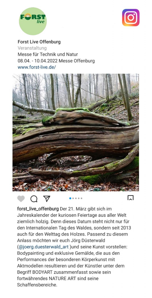 Medienbericht Bodypaintingprojekt NATURE ART des Künstlers Jörg Düsterwald (Media: Forst-live / März.2021)