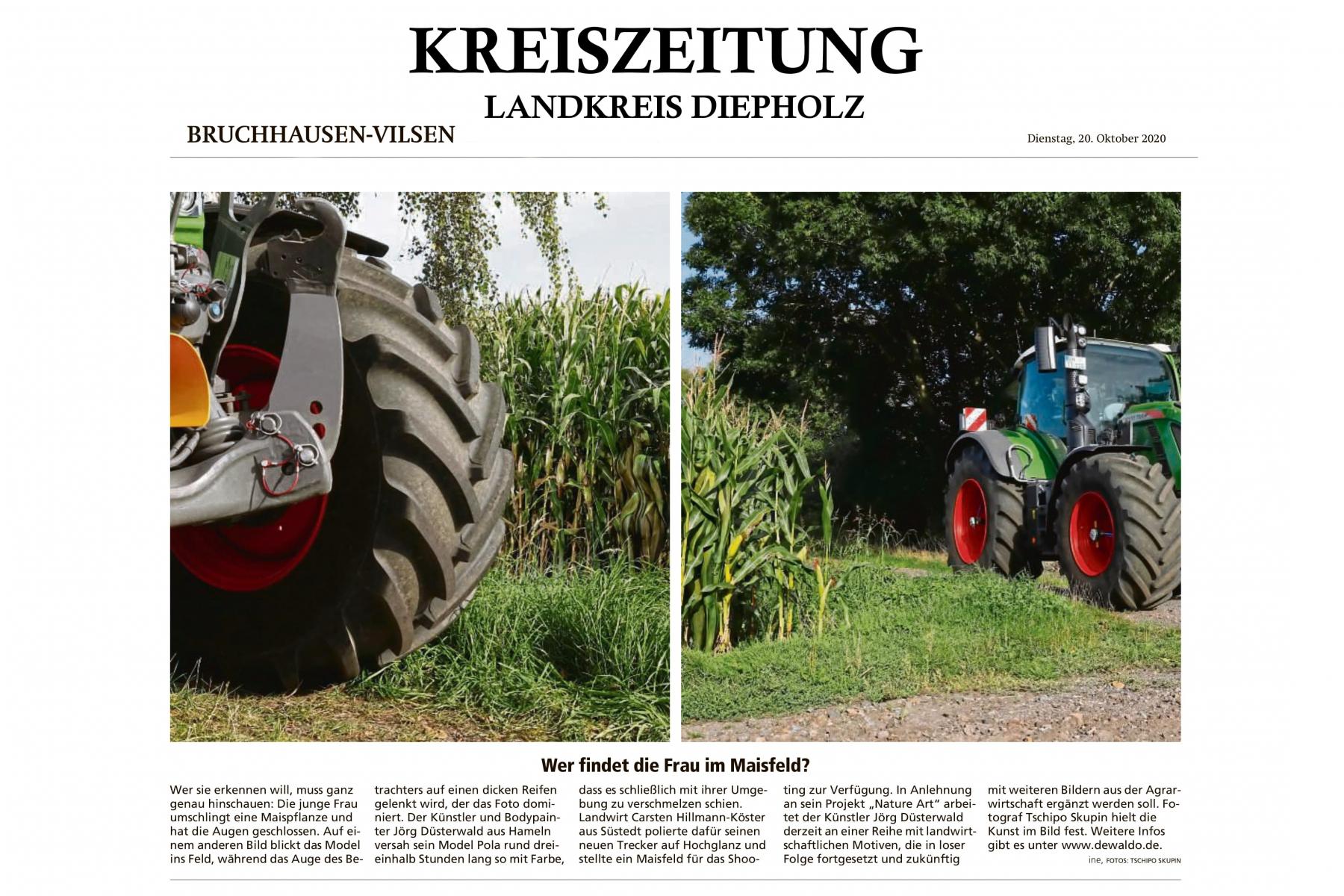 Pressebericht Bodypaintingprojekt AGRAR ART des Künstlers Jörg Düsterwald (Medium: Kreiszeitung Diepholz / Okt.2010)