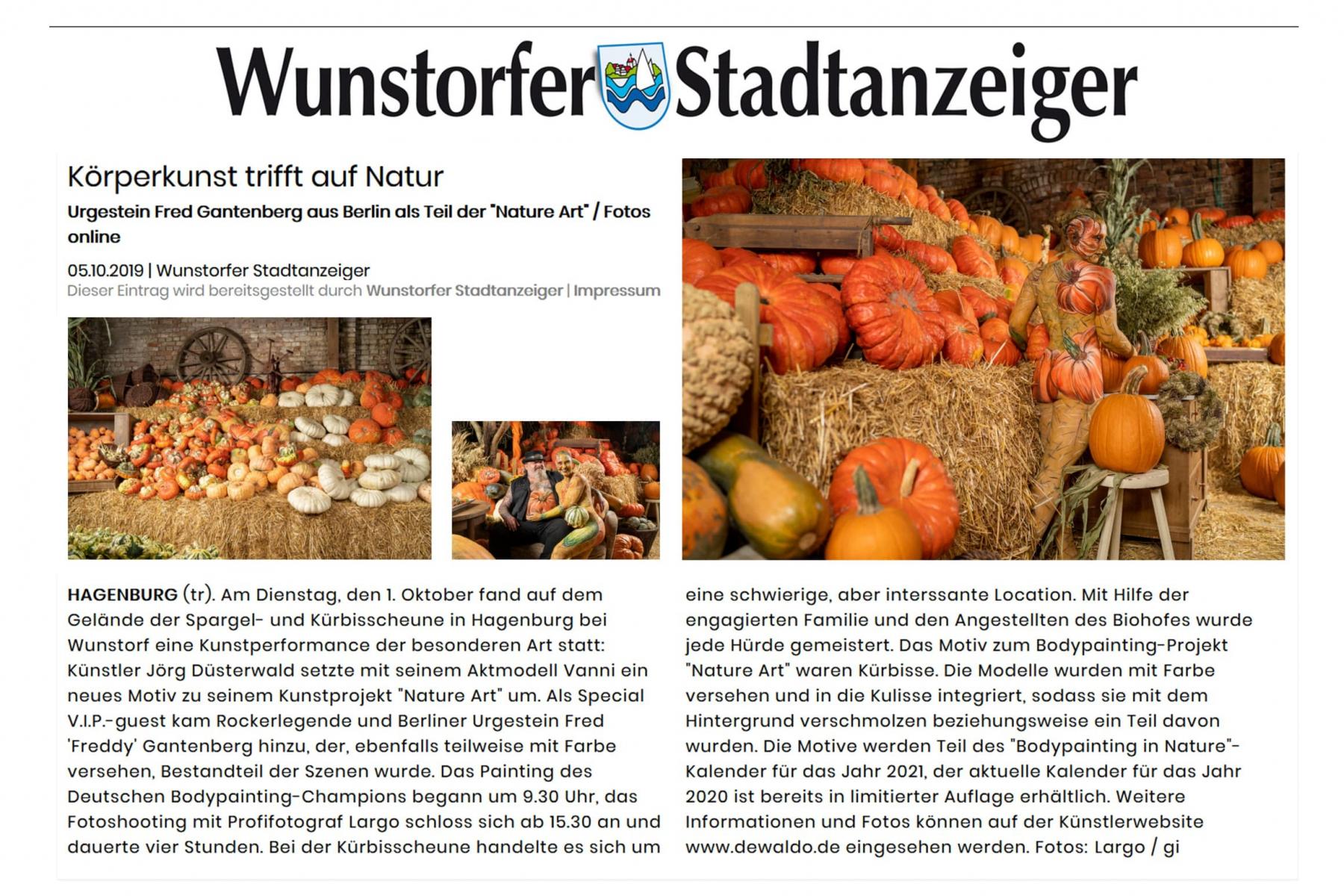 Medienbericht Bodypaintingprojekt AGRAR ART des Künstlers Jörg Düsterwald (Media: Wunstorfer Stadtanzeiger / Okt.2019)