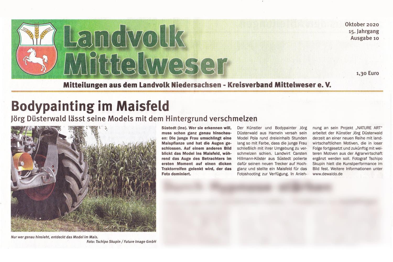 Medienbericht Bodypaintingprojekt AGRAR ART des Künstlers Jörg Düsterwald (Media: Landvolk Mittelweser / Okt.2020)