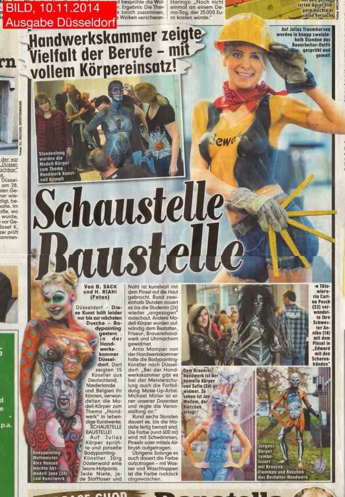 Medienbericht Bodypainting mit Künstler Jörg Düsterwald (Media: BILD-Düsseldorf / Nov.2014)