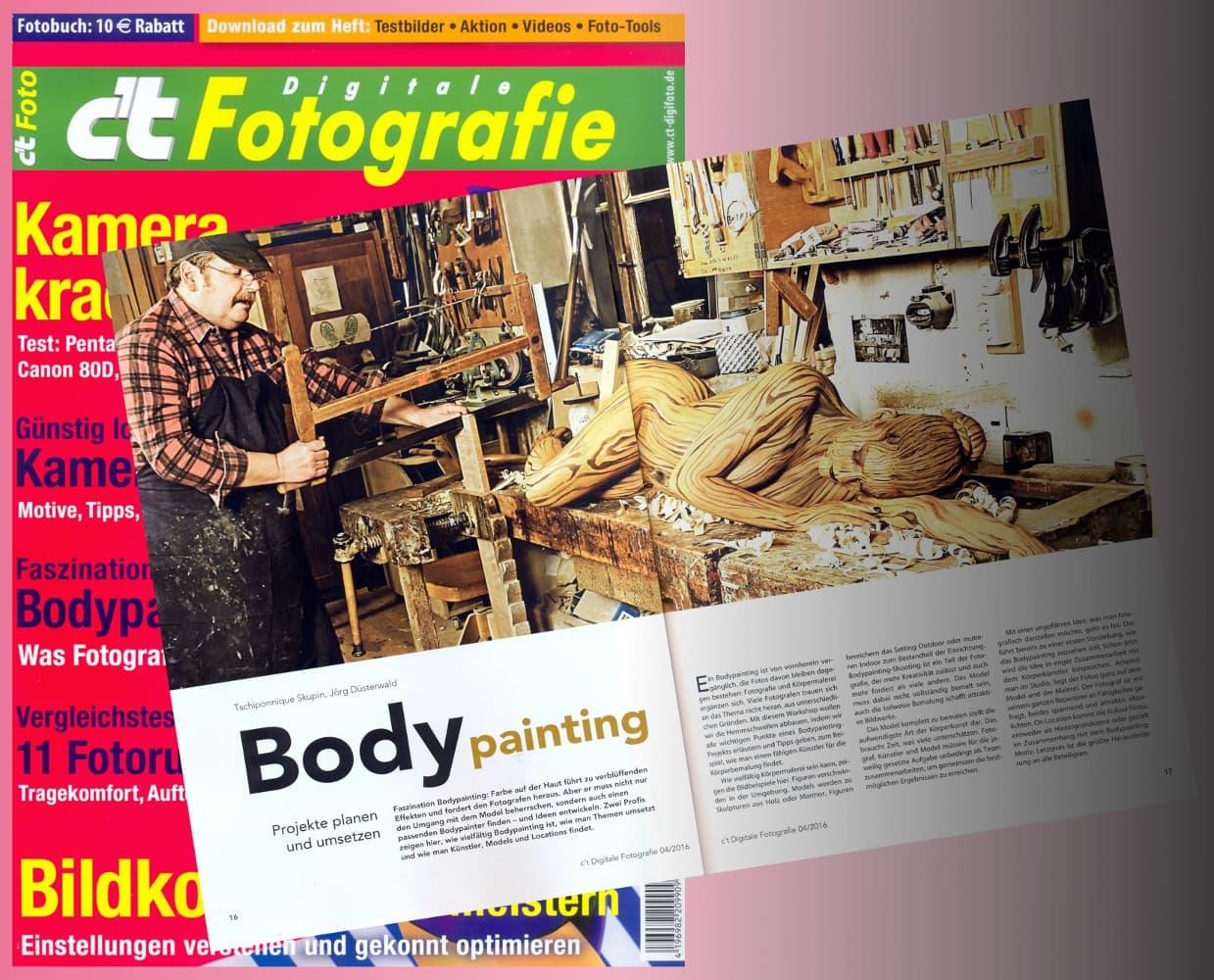 Dokumentation Bodypainting-Workshop mit Künstler Jörg Düsterwald und Fotograf Tschiponnique Skupin (Media: CT-Fotografie / April.2016)