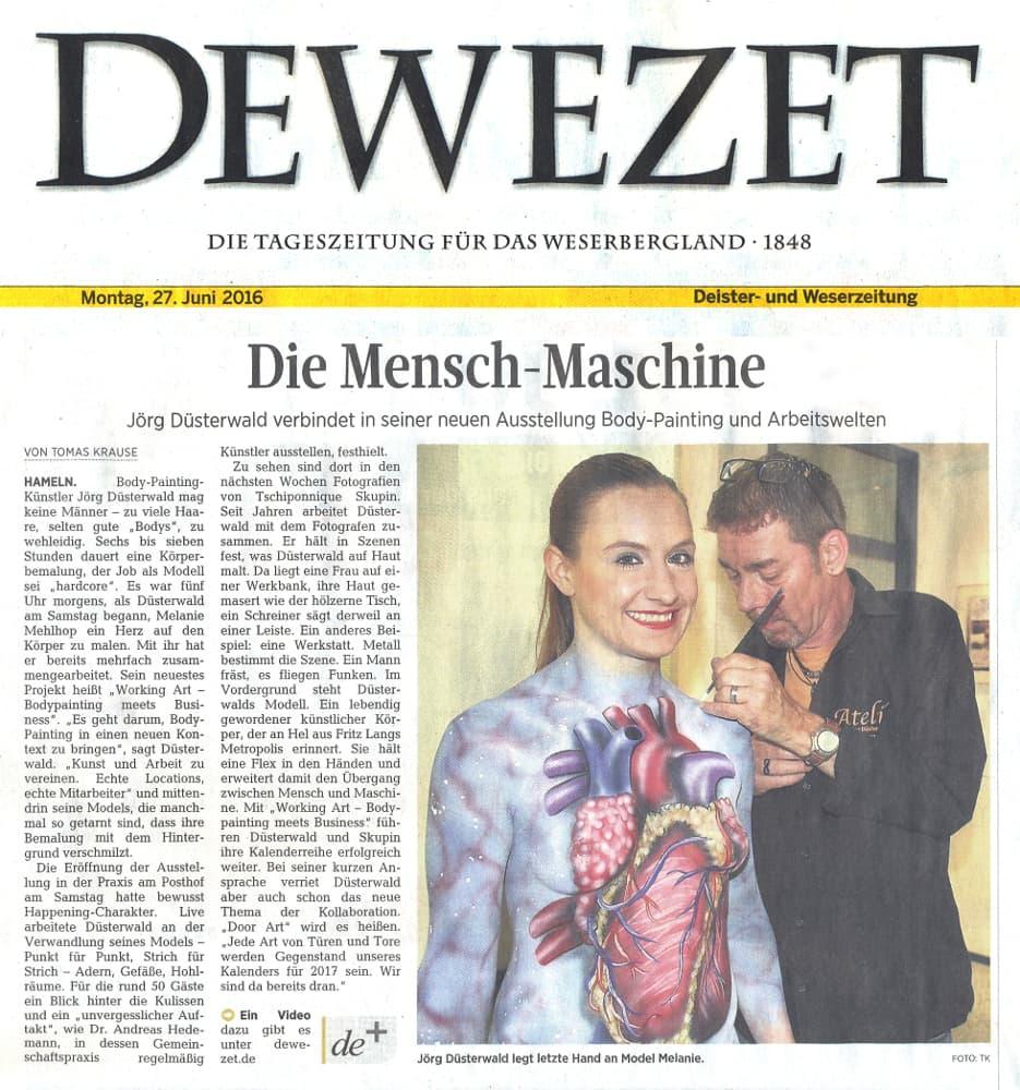 Medienbericht Kunstausstellung Bodypainting des Künstlers Jörg Düsterwald (Media: DEWEZET / Juni.2016)