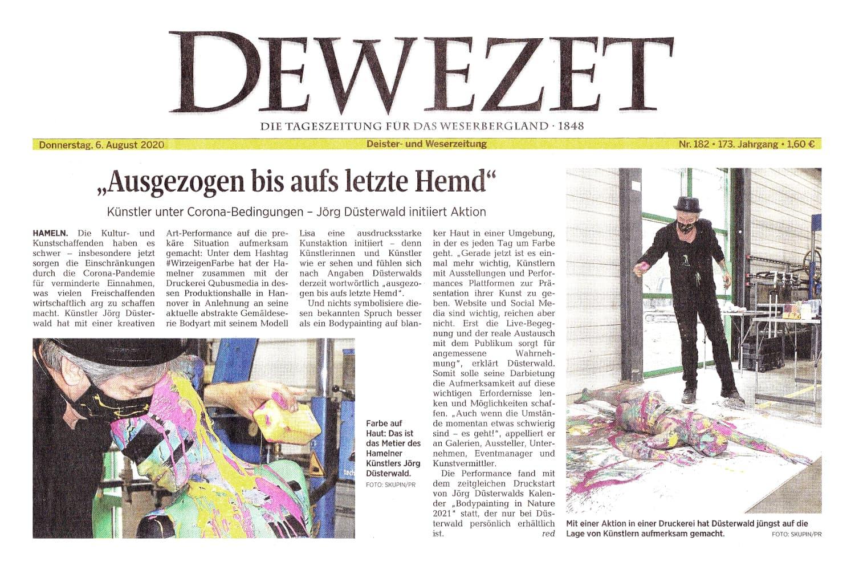 Medienbericht Kunstprojekt SPLASH ART des Künstlers Jörg Düsterwald (Media: DEWEZET / Aug.2020)