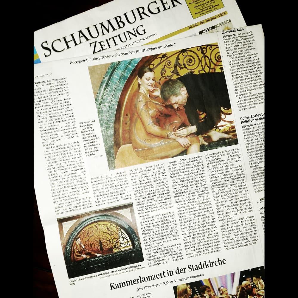 Medienbericht Bodypaintingprojekt des Künstlers Jörg Düsterwald (Media: Schaumburger Zeitung / Feb.2018)