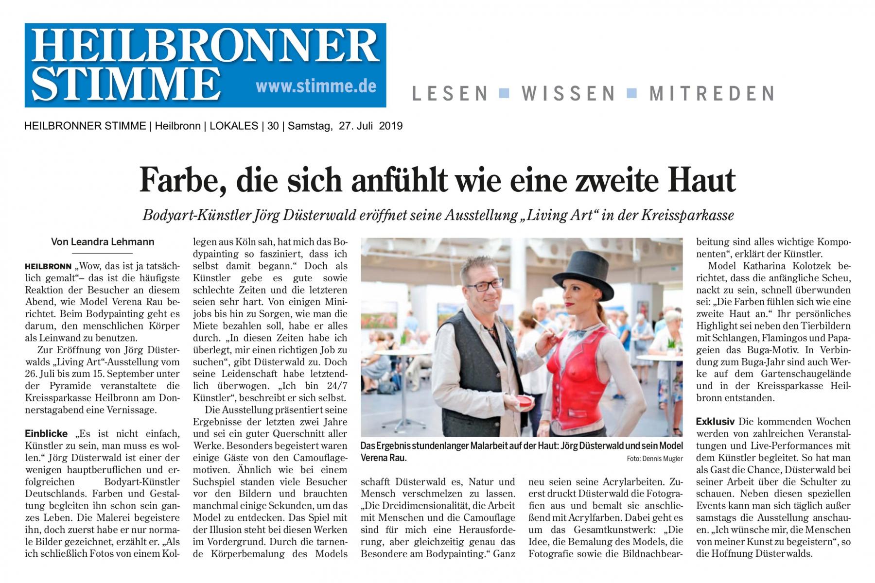 Medienbericht Kunstausstellung LIVING ART des Künstlers Jörg Düsterwald (Media: Heilbronner Stimme / Juli.2019)