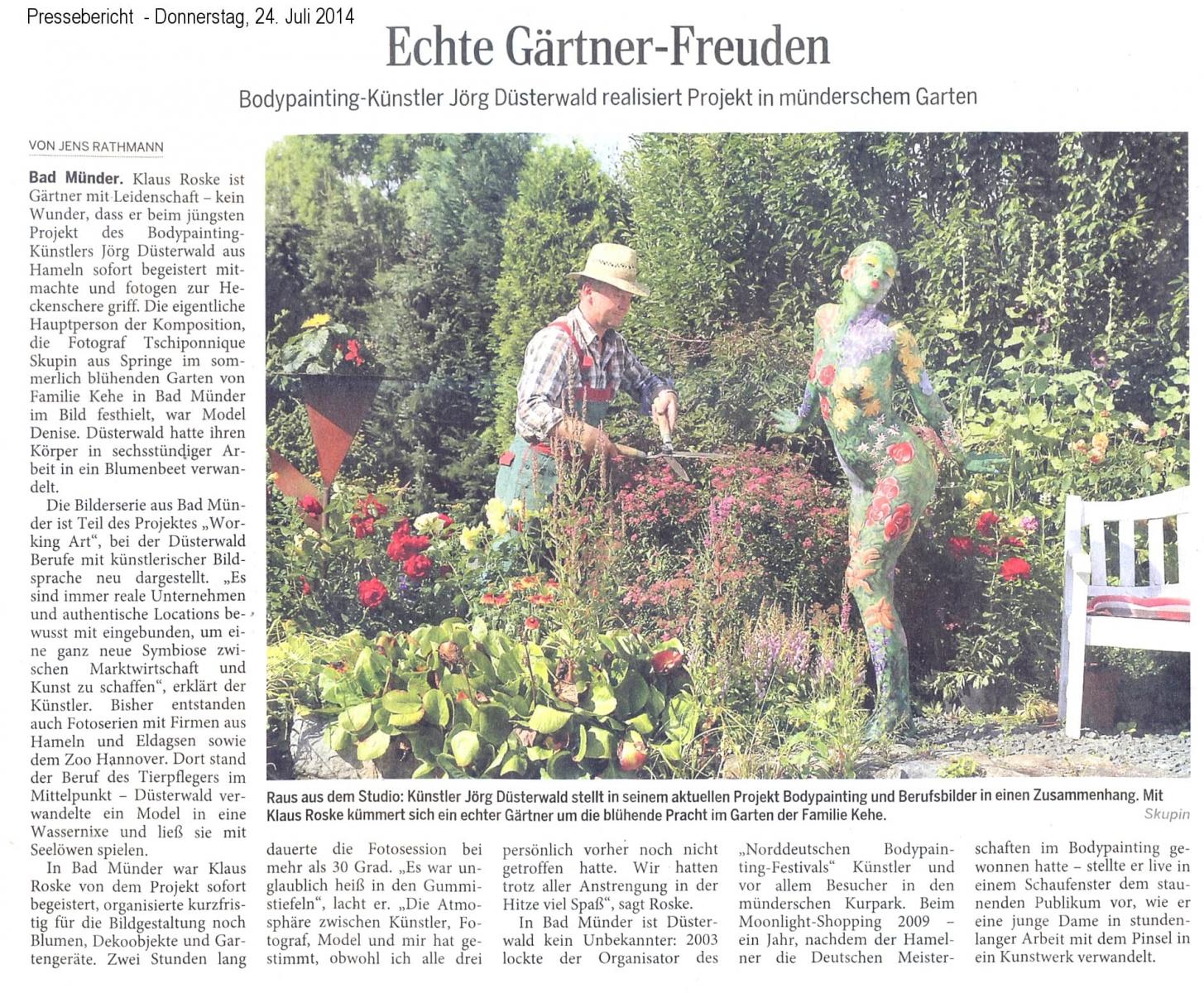 Medienbericht Bodypaintingprojekt WORKING ART des Künstlers Jörg Düsterwald (Media: DEWEZET / Juli.2014)
