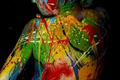 BODYART Kunstperformance COLOURMIX-SPLASH  (Aktmodell: Christina / Projektfotograf: F. Schneider)