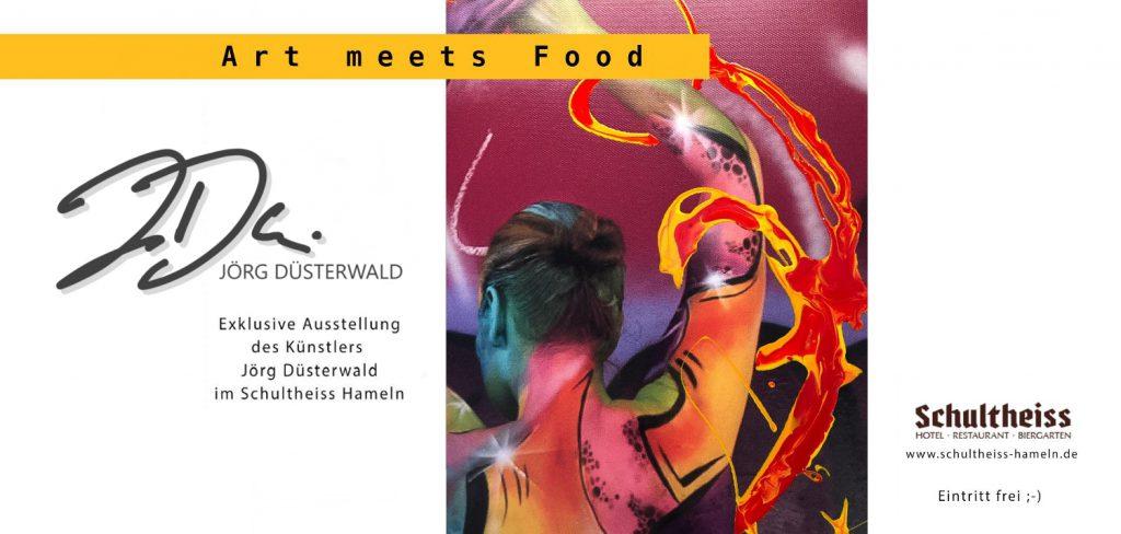 Ab Anfang März 2020 stellt Künstler Jörg Düsterwald einige seiner exklusiven Werke im Hotel-Restaurant Schultheiss in Hameln aus. Geniessen Sie FOOD und KUNST!