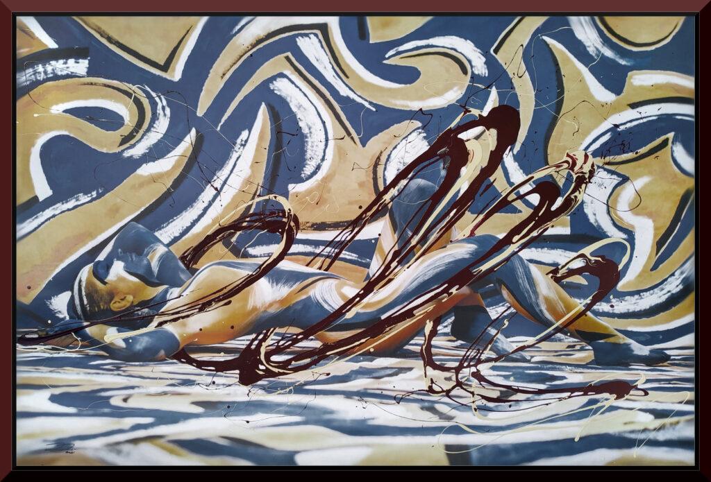 Ein Leinwandgemälde des Künstlers Jörg Düsterwald. Es wurde ein Leinwanddruck eines Bodypainting Fotoshootings angefertigt. Zu sehen ist eine abstrakt gelb und blau bemalte nackte Frau, die vor einer Kulisse mit gleichem Muster liegt. Auf den Leinwanddruck hat der Künstler mit Lackfarben spiralförmig zweifarbige Kleckerspuren um die abgebildete Person platziert und damit ein einzigartiges Gemälde als Unikat geschaffen.