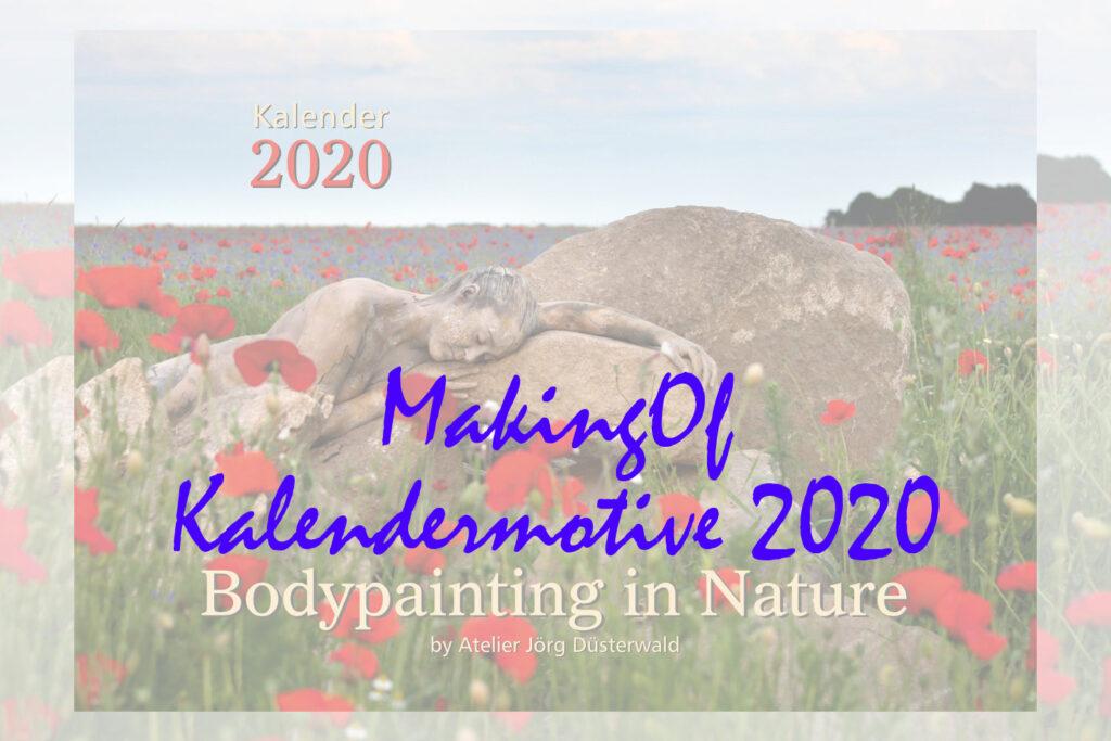Titelbild für den Film von Ansichten der Produktionen der Bodypainting-Motive NATUREART, die z.T. Ihren Platz in dem Premium Kalender BODYPAINTING IN NATURE 2020 finden